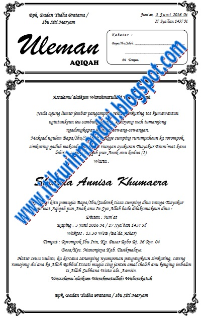 Contoh Undangan Syukuran Aqiqah Basa Sunda Ms Word F4 Kang